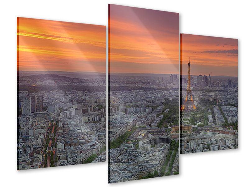 Acrylglasbild 3-teilig modern Skyline Paris bei Sonnenuntergang