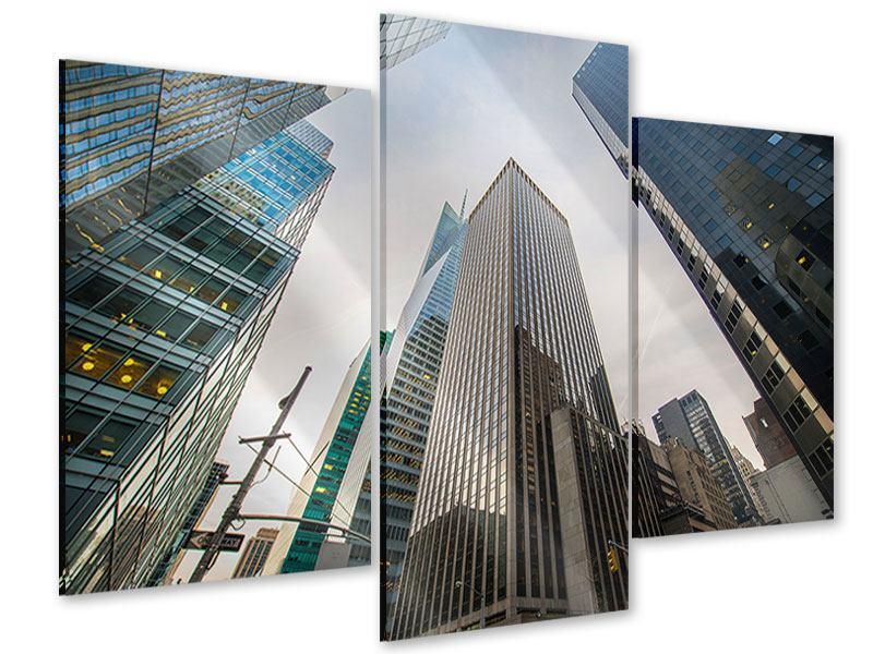 Acrylglasbild 3-teilig modern Hochhäuser
