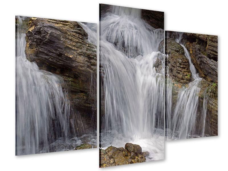Acrylglasbild 3-teilig modern Wasserfall XXL