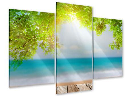 Acrylglasbild 3-teilig modern Strandterrasse