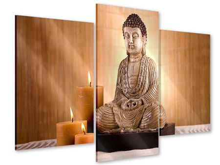 Acrylglasbild 3-teilig modern Buddha in der Meditation