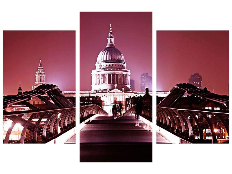 Acrylglasbild 3-teilig modern Millennium Bridge