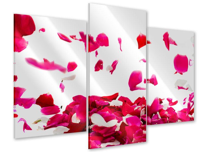 Acrylglasbild 3-teilig modern Für mich soll`s rote Rosen regnen
