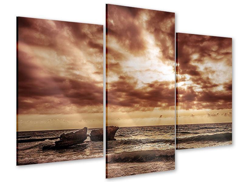Acrylglasbild 3-teilig modern Meeresrauschen