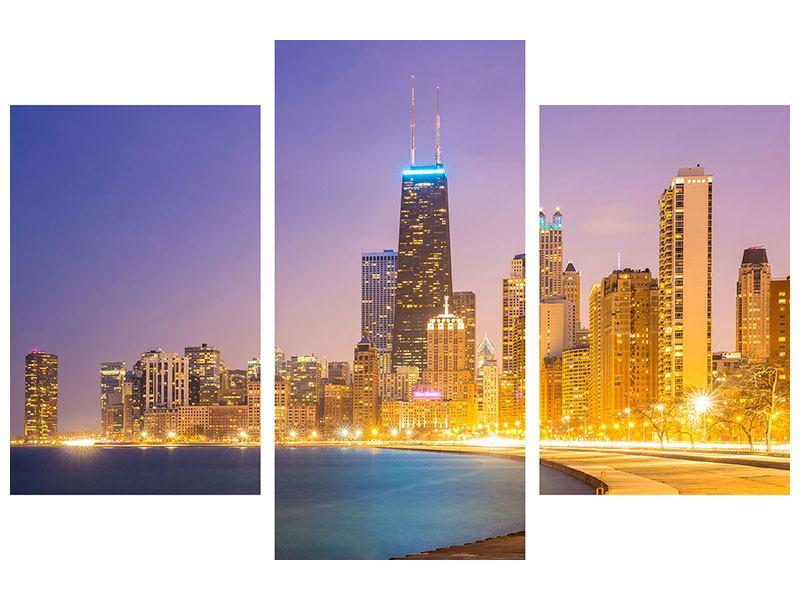 Acrylglasbild 3-teilig modern Skyline Chicago in der Nacht