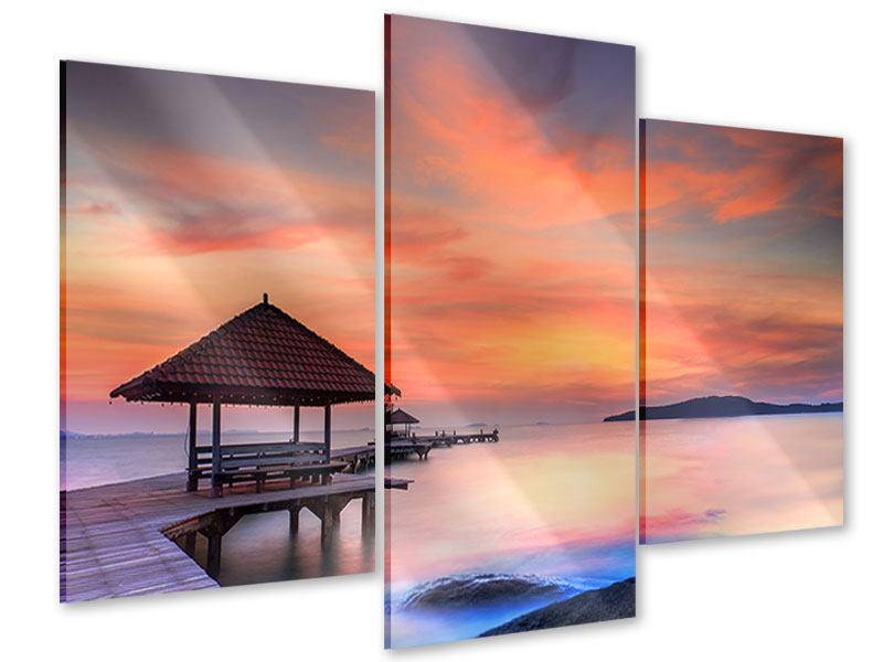 Acrylglasbild 3-teilig modern Paradiesische Brücke