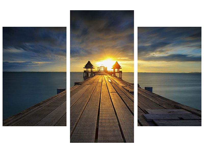Acrylglasbild 3-teilig modern Der Sonnenuntergang bei der Holzbrücke