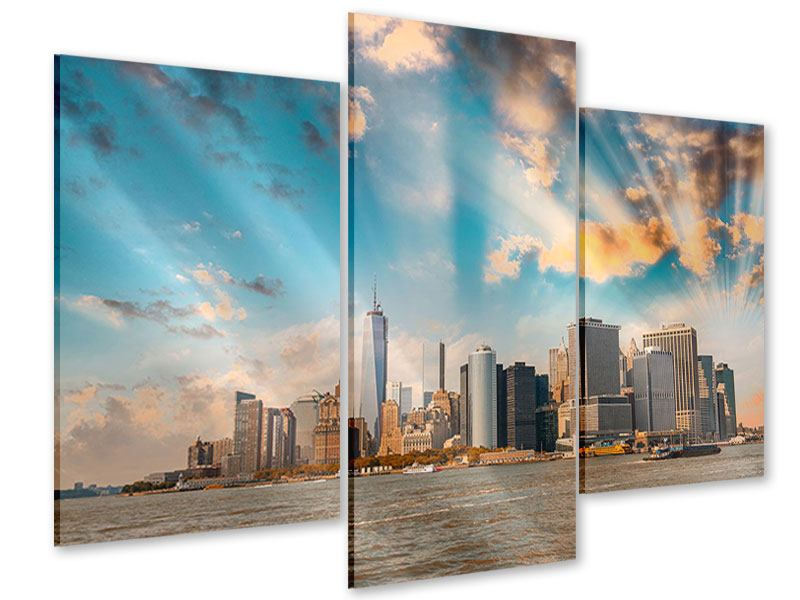Acrylglasbild 3-teilig modern Skyline New York from the other Side