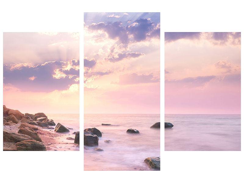 Acrylglasbild 3-teilig modern Sonnenaufgang am Meer