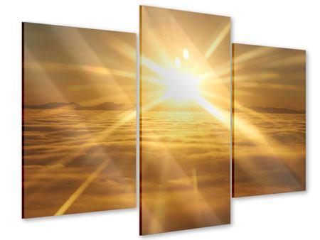 Acrylglasbild 3-teilig modern Über dem Wolkenmeer