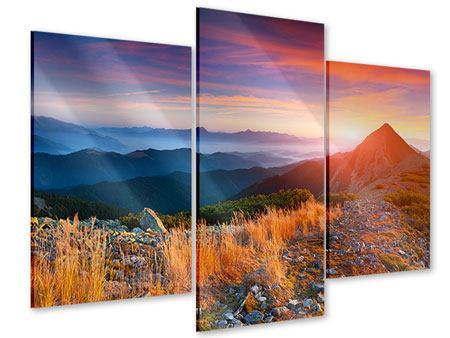 Acrylglasbild 3-teilig modern Sonnenuntergang in den Alpen