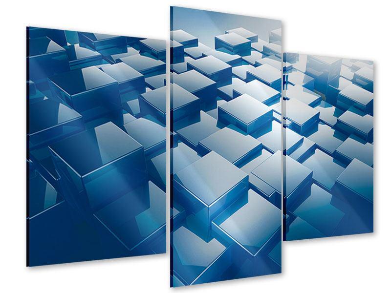 Acrylglasbild 3-teilig modern 3D-Cubes