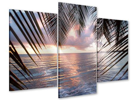 Acrylglasbild 3-teilig modern Unter Palmenblätter