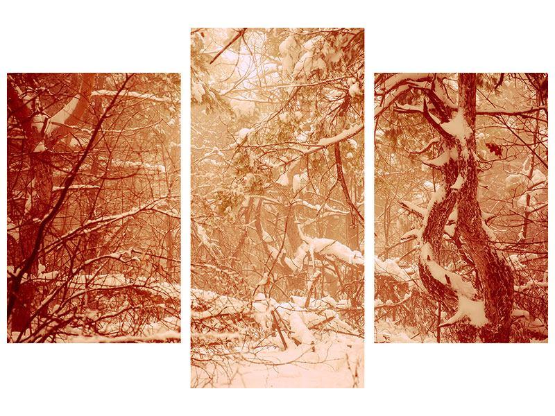 Acrylglasbild 3-teilig modern Schneewald