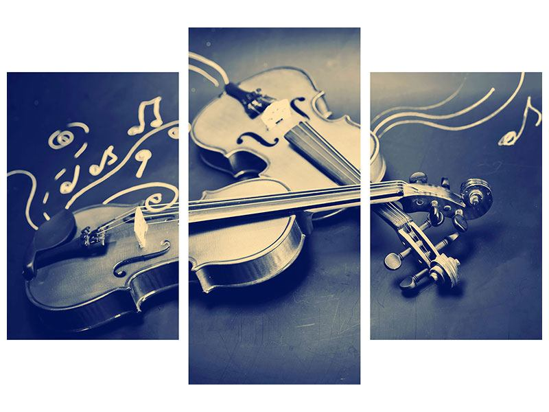 Acrylglasbild 3-teilig modern Geigen