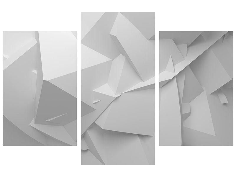 Acrylglasbild 3-teilig modern 3D-Raster