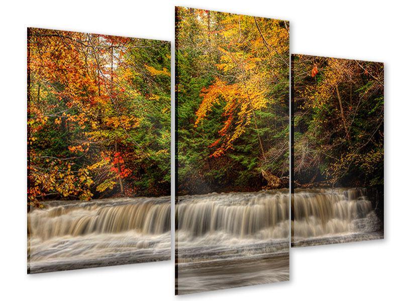 Acrylglasbild 3-teilig modern Herbst beim Wasserfall