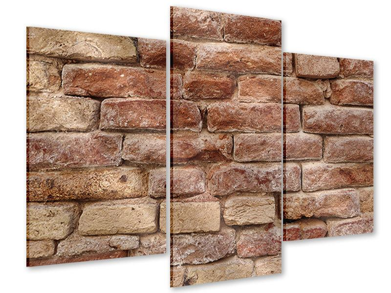 Acrylglasbild 3-teilig modern Loft-Mauer