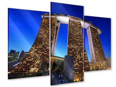 Acrylglasbild 3-teilig modern Wolkenkratzer Singapur