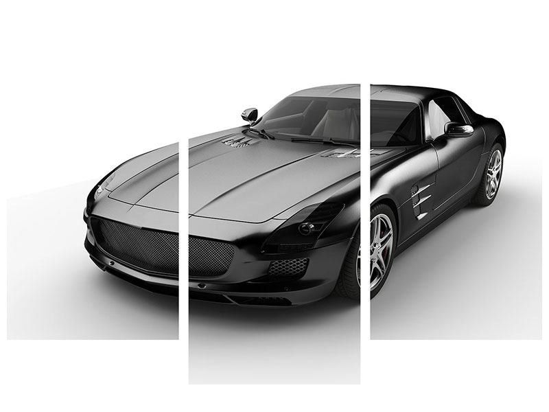 Acrylglasbild 3-teilig modern 007 Auto