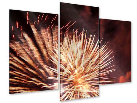 Acrylglasbild 3-teilig modern Close Up Feuerwerk