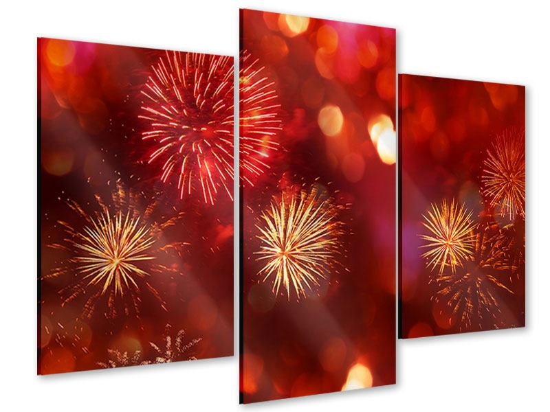 Acrylglasbild 3-teilig modern Buntes Feuerwerk