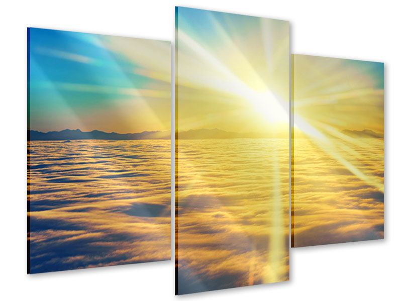 Acrylglasbild 3-teilig modern Sonnenuntergang über den Wolken
