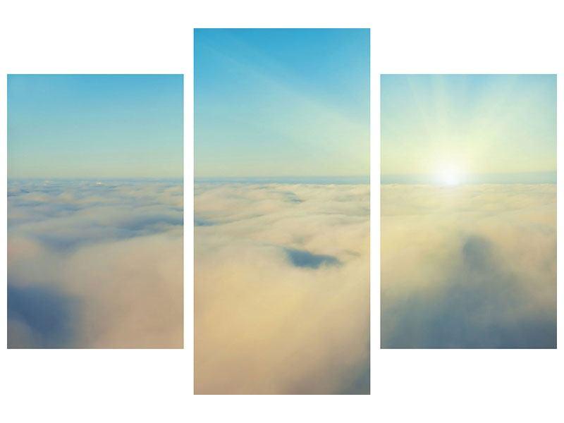 Acrylglasbild 3-teilig modern Dämmerung über den Wolken