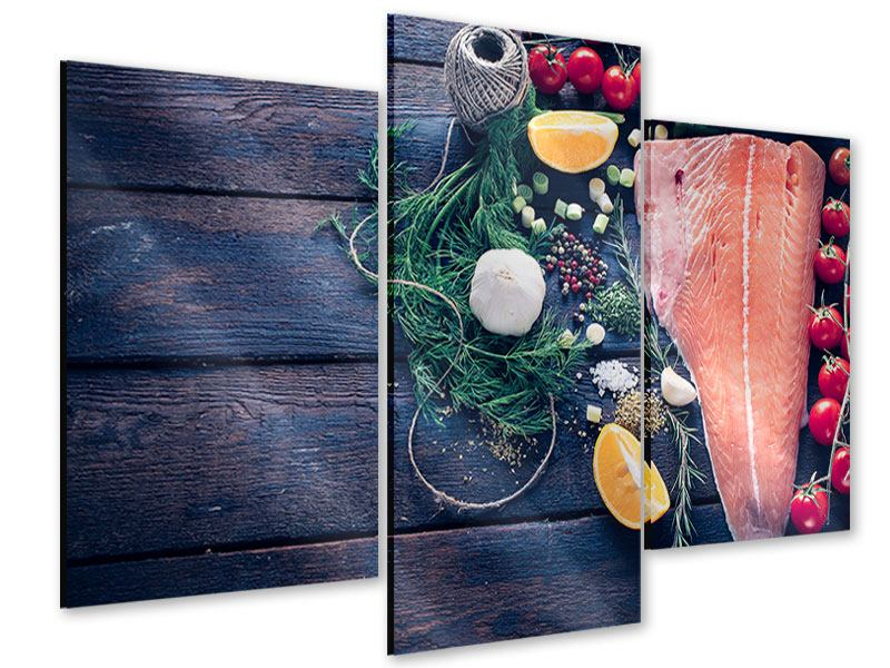 Acrylglasbild 3-teilig modern Fangfrischer Fisch