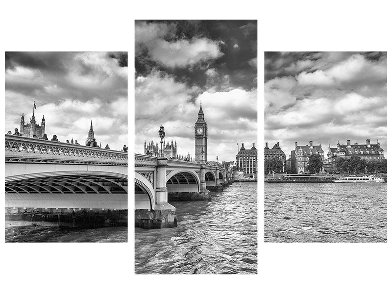 Acrylglasbild 3-teilig modern Westminster Bridge