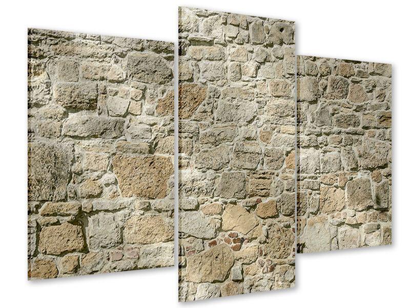 Acrylglasbild 3-teilig modern Naturmauer