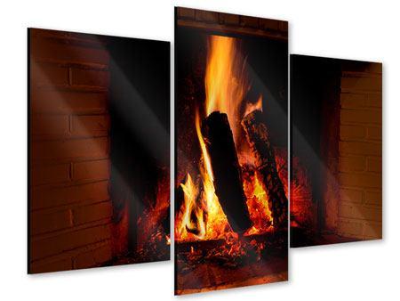 Acrylglasbild 3-teilig modern Feuer im Kamin