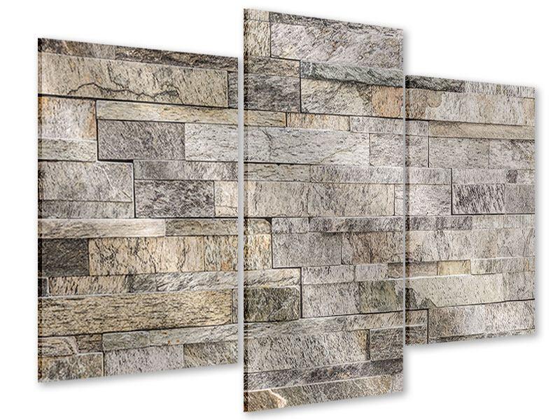 Acrylglasbild 3-teilig modern Elegante Steinmauer