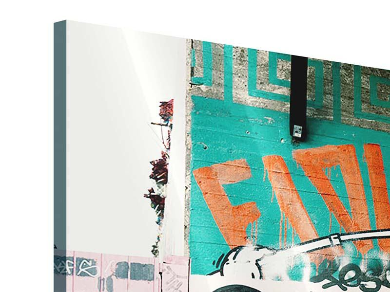 Acrylglasbild 3-teilig modern Graffiti im Hinterhof