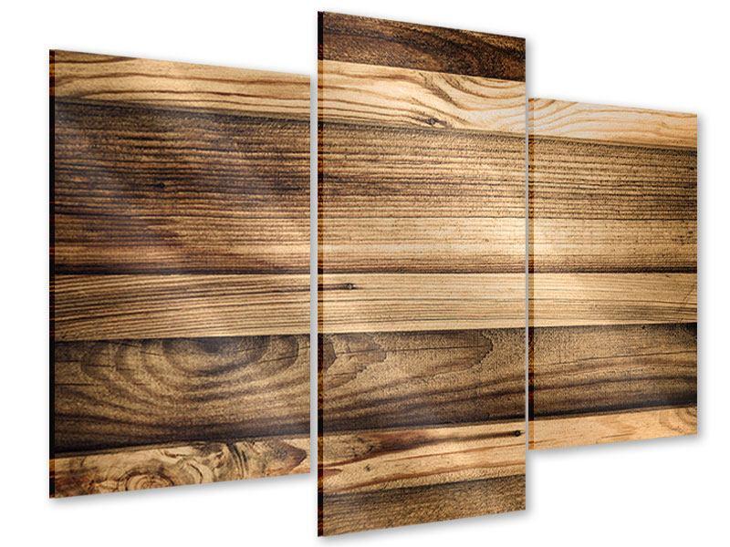 Acrylglasbild 3-teilig modern Holztrend