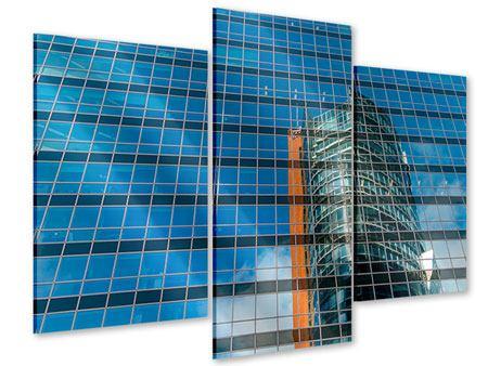 Acrylglasbild 3-teilig modern Wolkenkratzer-Spiegel