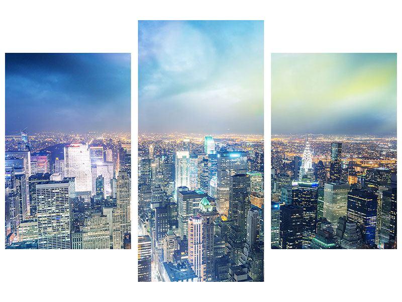 Acrylglasbild 3-teilig modern Skyline NY bei Sonnenuntergang