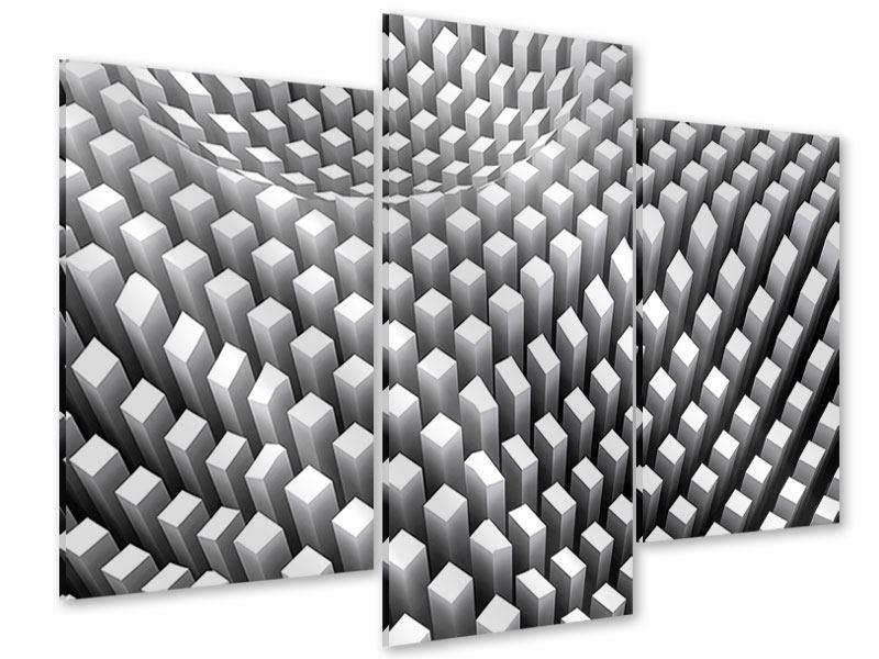 Acrylglasbild 3-teilig modern 3D-Rasterdesign