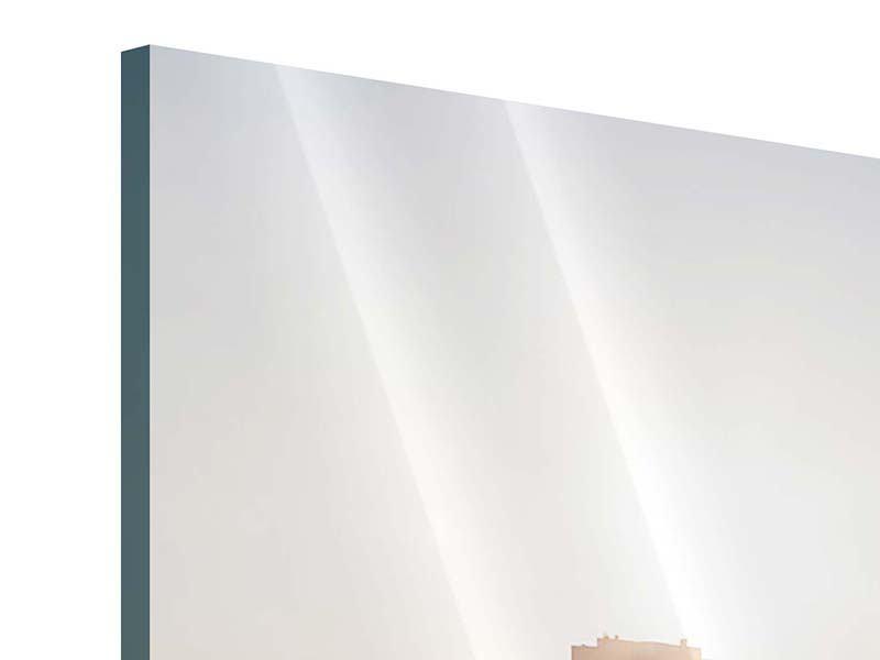 Acrylglasbild 3-teilig modern Skyline Sonnenaufgang bei Frankfurt am Main