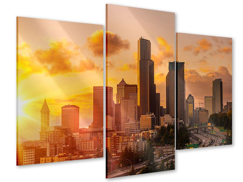 Acrylglasbild 3-teilig modern Skyline Washington