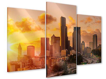 Acrylglasbild 3-teilig modern Skyline Washington