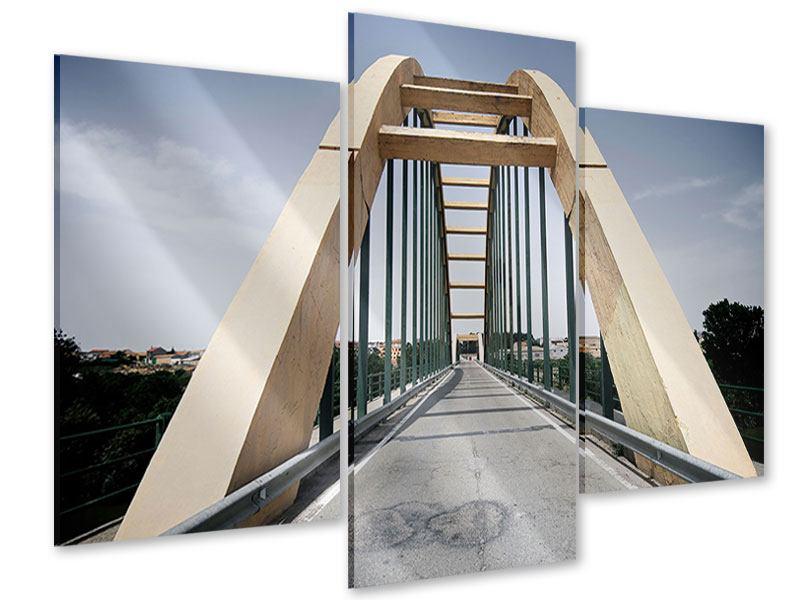 Acrylglasbild 3-teilig modern Imposante Hängebrücke