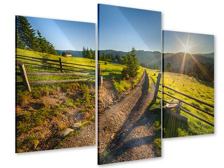 Acrylglasbild 3-teilig modern Sonnenaufgang am Berg