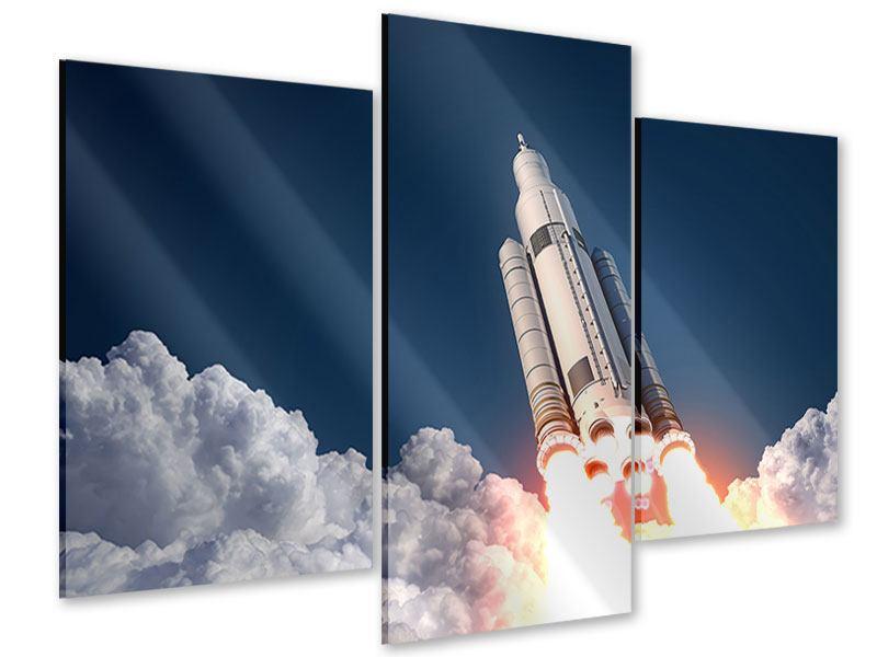 Acrylglasbild 3-teilig modern Raketenstart