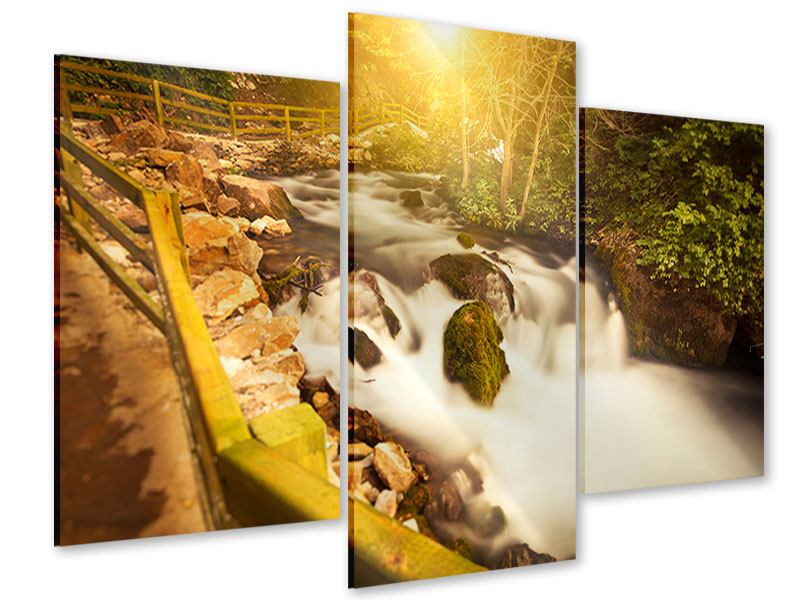 Acrylglasbild 3-teilig modern Sonnenuntergang am Wasserfall