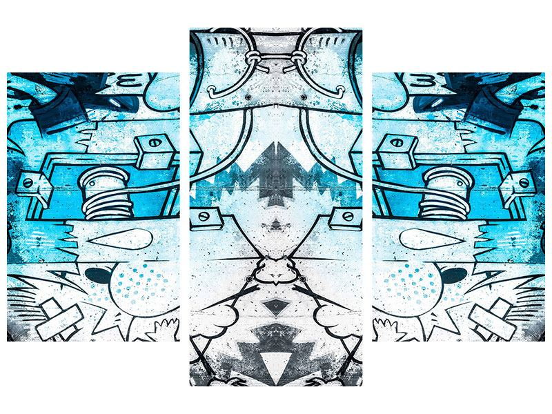 Acrylglasbild 3-teilig modern Graffiti
