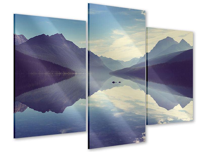 Acrylglasbild 3-teilig modern Bergspiegelung