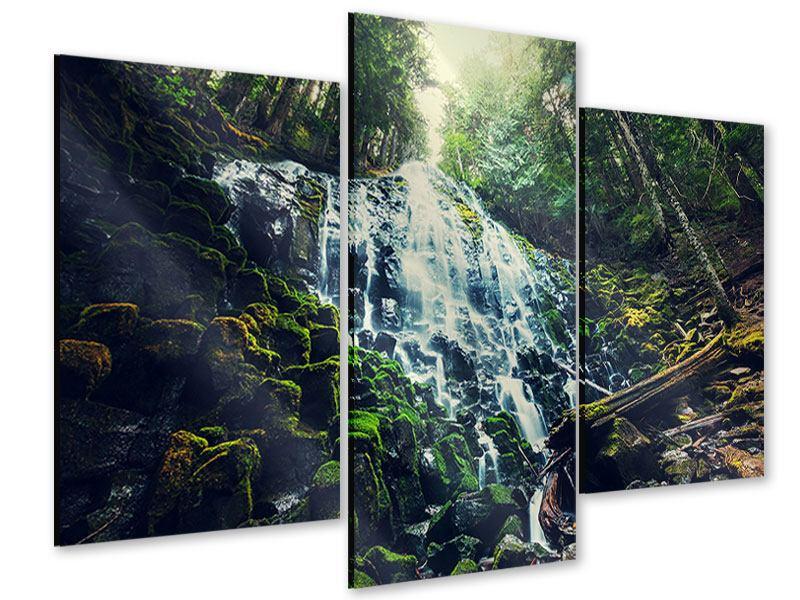 Acrylglasbild 3-teilig modern Feng Shui & Wasserfall