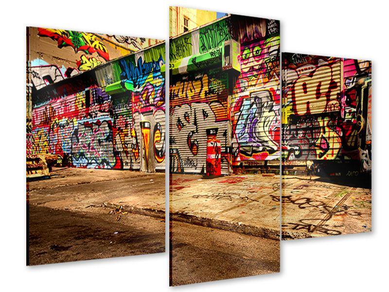 Acrylglasbild 3-teilig modern NY Graffiti