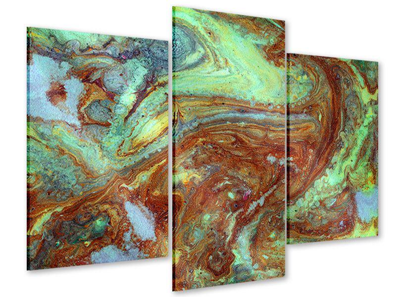 Acrylglasbild 3-teilig modern Marmor in Grün